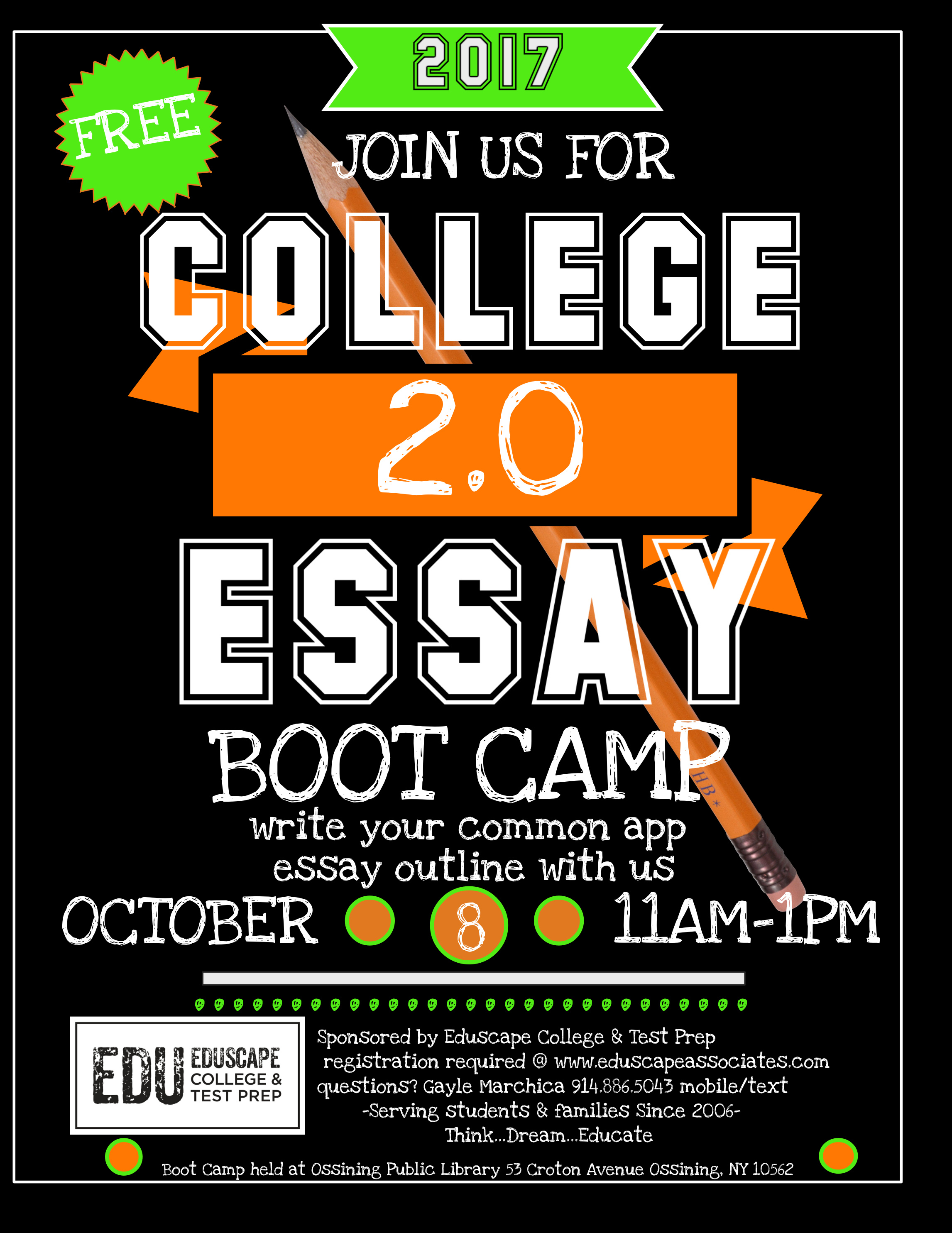 college essay boot camp northeastern The mission of marist high school as a roman catholic, coed high school, is to make jesus christ known and loved in the marist brothers' tradition, while preparing students for higher education and life.