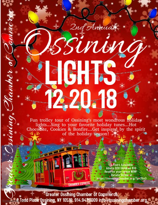 Ossining Lights 12-20-18 Flier with Christmas Trees and Trolley